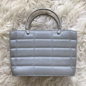 CHANEL Silver Quilted Mini Tote